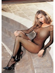Sexy Black Long Sleeve & Open Crotch Fishnet Bodystocking (Without G-String)