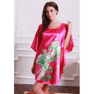 Appealing Butterfly-Shape Dress Pyjamas With Maroon & Flowery Design