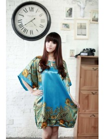 Appealing Sleeve Dress Pyjamas With Blue & Flowery Design