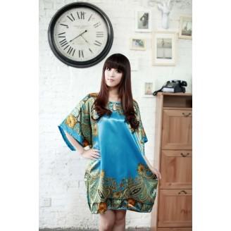 Appealing Sleeve Dress Pyjamas With Blue & Flowery Design