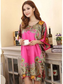 Appealing Exotic Pattern Design & Pink Sleeves Dress Pyjamas