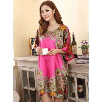 Appealing Exotic Pattern Design & Pink Sleeves Dress Pyjamas
