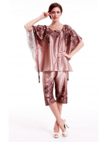 Sweet Brownish Silver Exotic Floral Design Butterfly Sleeves Pyjamas With Matching 3/4 Pants