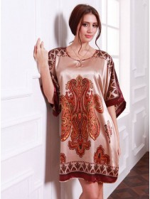 Appealing Exotic Pattern Design & Brownish Sleeves Dress Pyjamas