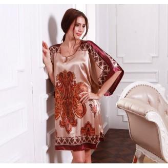 Appealing Exotic Pattern Design & Brownish Sleeves Dress Pyjamas