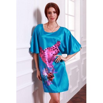 Appealing Aqua Blue With Exotic Butterfly Design Sleeves Dress Pyjamas