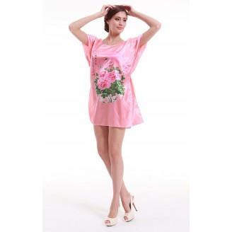 Appealing Pink With Flowery Pattern Design Sleeves Dress Pyjamas