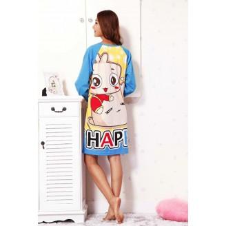 Cute Happy Animated Girl Long Sleeve Nightshirt