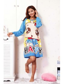 Cute Happy Animated Girl Long Sleeve Nightshirt