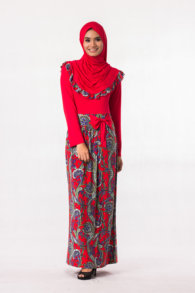 Fashion Two-Piece Batik Jubah Dress Ribbon (Including Shawl) 3c83451171
